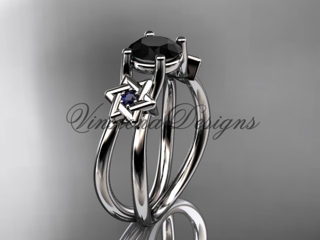 14kt white gold, Star of David, jewish ring, engagement ring, enhanced Black Diamond VH10017