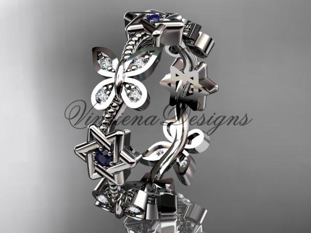 14kt white gold diamond butterfly, jewish Star of David ring, engagement ring, wedding band VH10018B