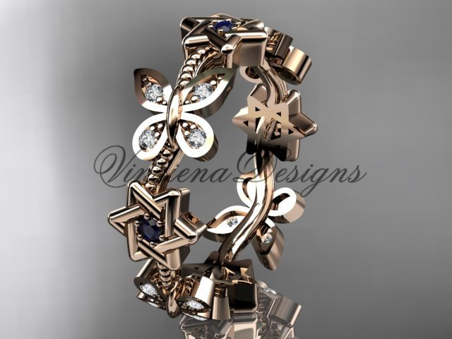 14kt rose gold diamond butterfly, jewish Star of David ring, engagement ring, wedding band VH10018B