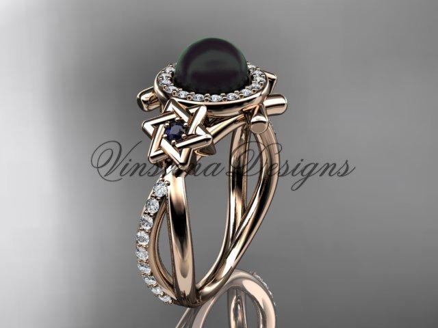 14kt rose gold, diamond, Star of David ring, jewish ring, engagement ring, Cultured Pearl VHBP10012