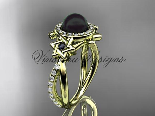 14kt yellow gold, Star of David ring, jewish ring, engagement ring, Cultured Pearl VHBP10012