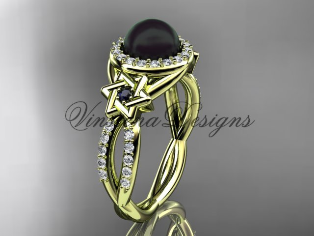 14kt yellow gold diamond, Star of David ring, jewish ring, engagement ring, Cultured Pearl VHBP10013