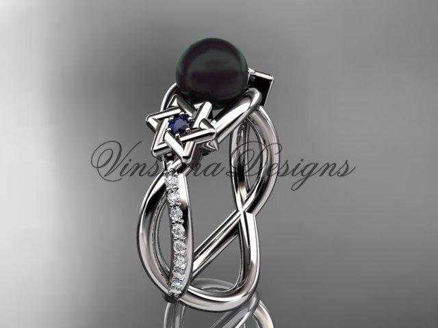 Platinum diamond, Star of David ring, jewish ring, engagement ring, Cultured Pearl VHBP10013