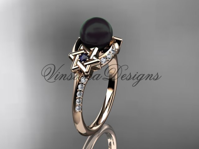 14kt rose gold diamond, Star of David jewish ring, engagement ring, Cultured Pearl VHBP10015