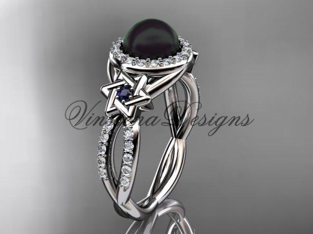 Platinum, diamond, Star of David jewish ring, engagement ring, Cultured Pearl VHBP10016