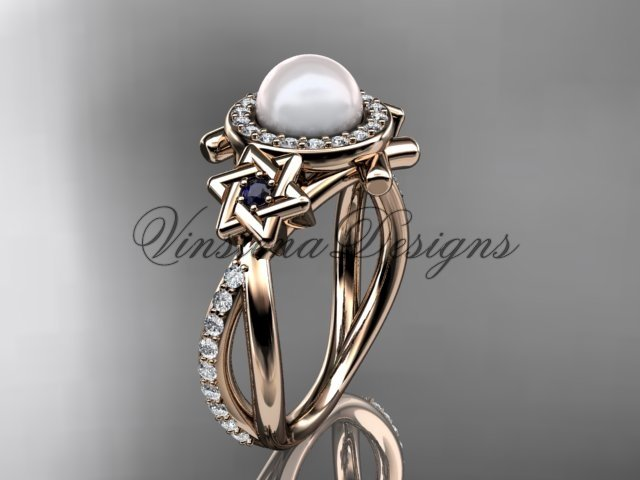 14kt rose gold diamond, Star of David ring, jewish ring, engagement ring, Cultured Pearl VHP10012