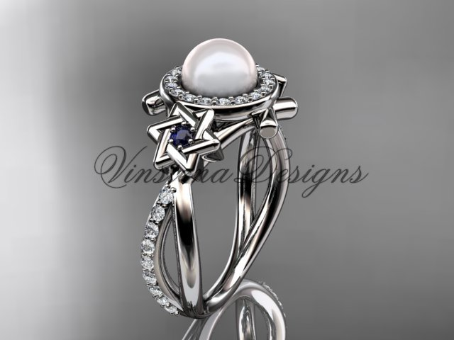 Platinum  diamond, Star of David ring, jewish ring, engagement ring, Cultured Pearl VHP10012