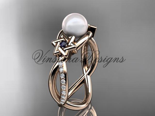 14kt rose gold diamond, Star of David ring, jewish ring, engagement ring, Cultured Pearl VHP10013