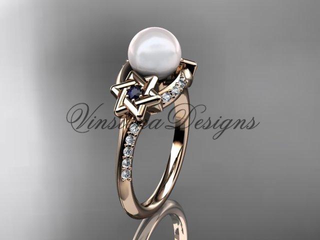 14kt rose gold diamond, Star of David ring, jewish ring, engagement ring, Cultured Pearl VHP10015