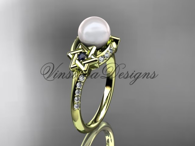 14kt yellow gold diamond, Star of David ring, jewish ring, engagement ring, Cultured Pearl VHP10015