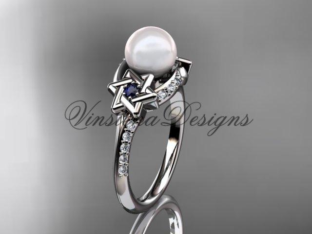 Platinum diamond, Star of David ring, jewish ring, engagement ring, Cultured Pearl VHP10015