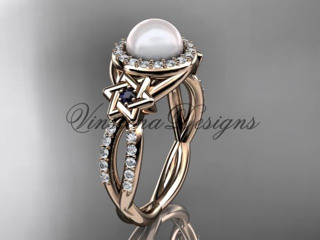 14kt rose gold, diamond, Star of David jewish ring, engagement ring, Cultured Pearl VHP10016