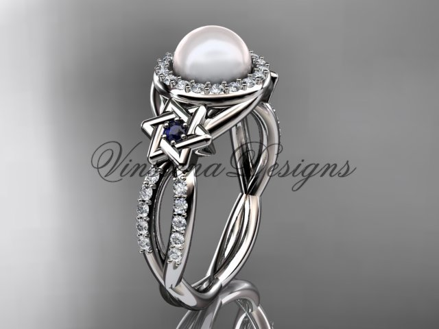 platinum, diamond, Star of David jewish ring, engagement ring, Cultured Pearl VHP10016