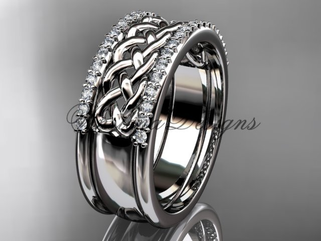 14kt white gold diamond wedding band VD208406B