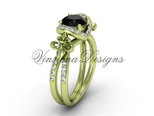 14kt yellow gold diamond Fleur de Lis, halo engagement ring, enhanced Black Diamond VD208140