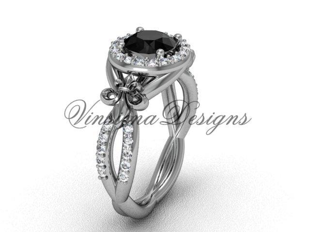 14kt white gold diamond Fleur de Lis, halo engagement ring, enhanced Black Diamond VD208127