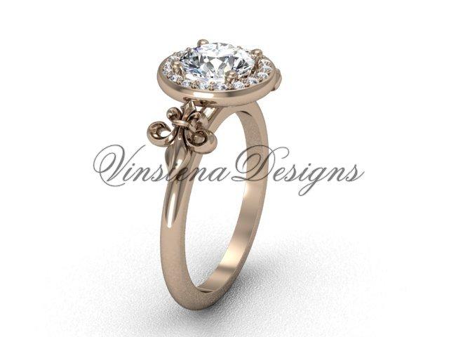 14kt rose gold diamond, halo ring, Fleur de Lis engagement ring VD208129