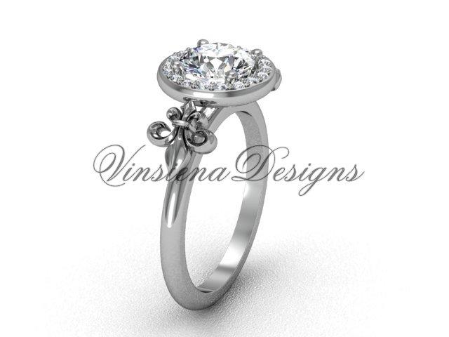 14kt white gold diamond, halo ring, Fleur de Lis engagement ring, One Moissanite VD208129