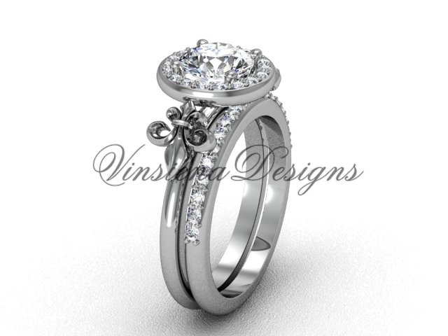 14kt white gold diamond, halo ring, Fleur de Lis engagement ring, One Moissanite VD208129S