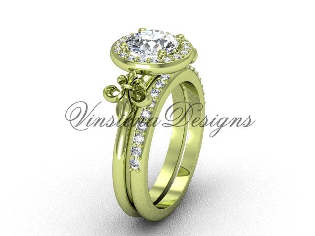 14kt yellow gold diamond, halo ring, Fleur de Lis engagement ring, One Moissanite VD208129S