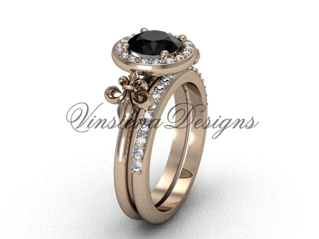 14kt rose gold diamond, halo ring, Fleur de Lis engagement ring, enhanced Black Diamond VD208129S