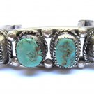 Turquoise Bracelet Sterling Silver Mexican Native American Indian Vintage Bangle Cuff