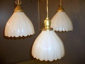 3 Vtg Vanity Swag Hanging Ceiling Lights Art Deco Milk Glass Shades Gold Bronze