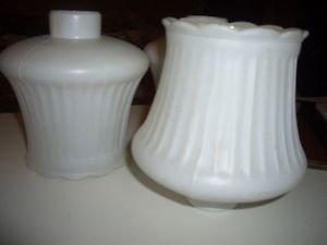 "3 Vintage White Glass Globes Lamp Light Hurricane Sconce Chandelier 1 5/8"""