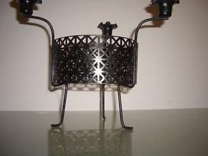 Mid Century Modern Black Metal Atomic Mategot Vinage Candle Holder Candelabra