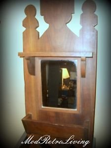 Vintage Art Hand Craft Wood Shelf Shaving Mirror Rustic Primative Box Old Decor