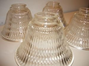 """4 Vintage Clear Holophane Glass Globes Lamp Shade Light 2 1/4"""" fit Antique"""