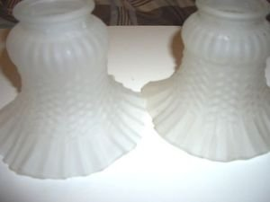 "2 Vintage Art Glass Shades Globes Lamp Light Sconce Frosted 2 1/8"" Victorian Oil"