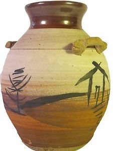 Earthtone Art Pottery Vase Handcrafted Signed Rowe Fish Asian Oriental 97 discon