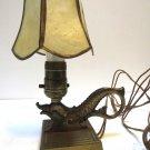 Vtg Antique Mini Lamp Sm Brass Serpent Asian Fish Metal Arts Craft Capiz Shade