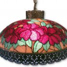 Vintage Hanging Swag Lamp Stained Art Glass Light Filigree Metal Reverse Paint