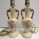 2 Vtg Ceramic Boudoir Table Dresser Bedside Lamps Shabby Chic Roses Victorian