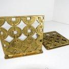 Vintage Art Deco Geometric Gold Brass Metal Art Bookends Mid Century Book Ends