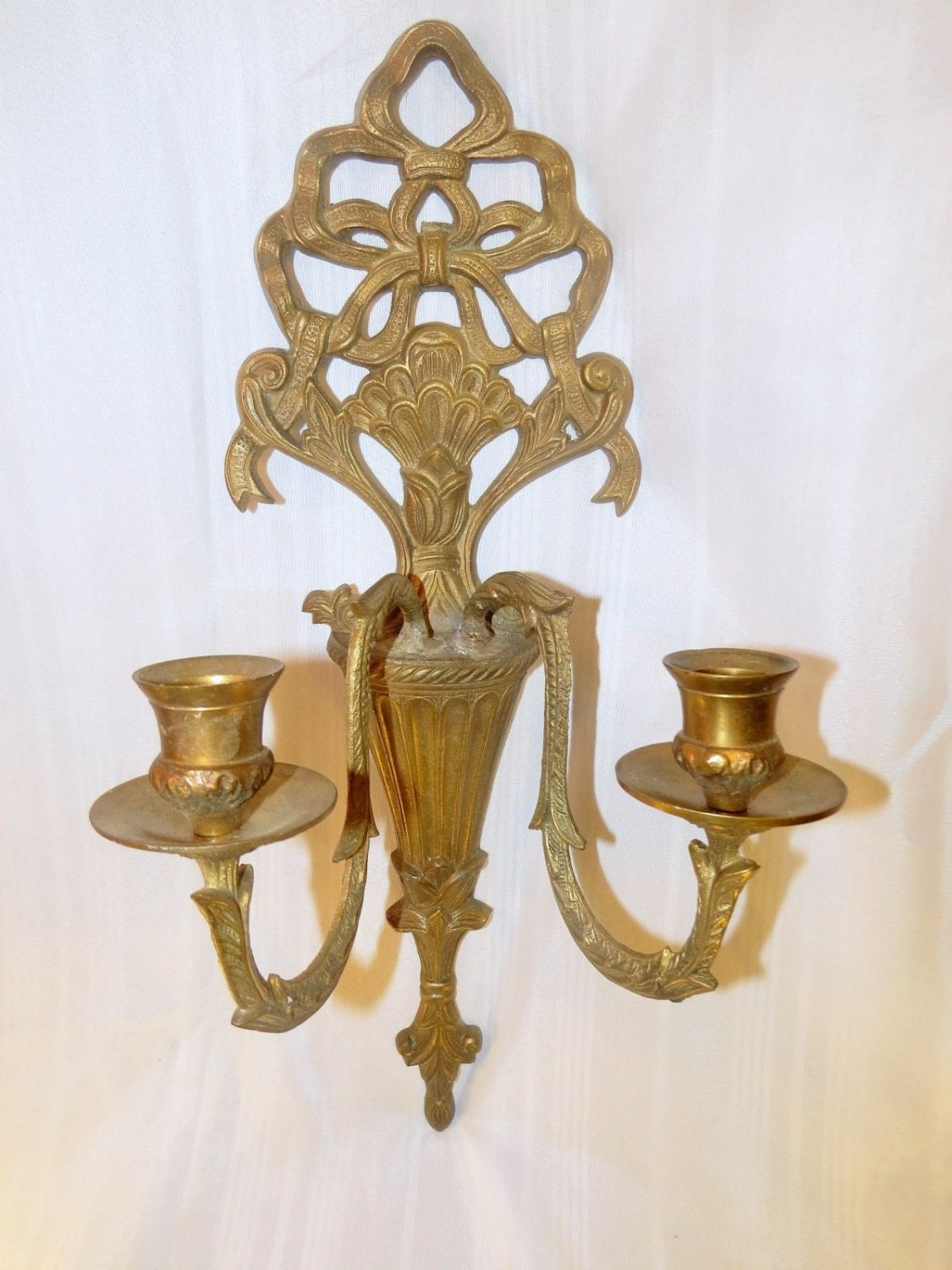 Image of: Vintage Antique Quality 2 Arm Bronze Brass Candle Wall Art Sconce Candle Holder