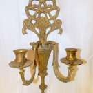 Vintage Antique Quality 2 arm Bronze Brass Candle Wall Art Sconce Candle holder