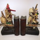 Vintage Wood Bookends Book Ends Pirate Ship Spain Nautical Cloth Sails detailed