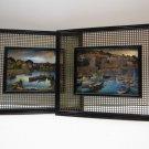 Vintage Mid Century Modern Industrial Wood Framed Boats Sail Water Foil Prints