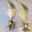 2 Vintage Brass Wall Sconce Leaf Feather Candle Holder Gold BoHo Hippy Modern