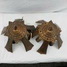 Pair Cast Copper Vintage Art Deco Slip Shade Chandeliers Ceiling Light parts