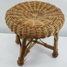 Vintage Original Wicker Foot Stool Natural Brown Table Top Display Plant stand