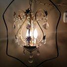 Vintage Birdcage Petite Chandelier Crystal Ball & Prisms 3 Light Ceiling Hanging
