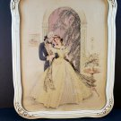 VINTAGE Lovers Victorian Watercolor Painting Print by Corre Wood Frame Antique