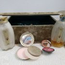 Vintage Art Deco Silver Compact blush perfume power velvet box Langlois of New Y