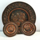 Vintage Copper Set of 3 Wall Plates Disk Round Tray Metal Hammered Art Antique