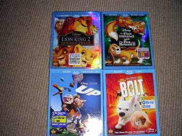 Lion king 2,Fox and the hound 1 and 2,Up 3 disc and Bolt