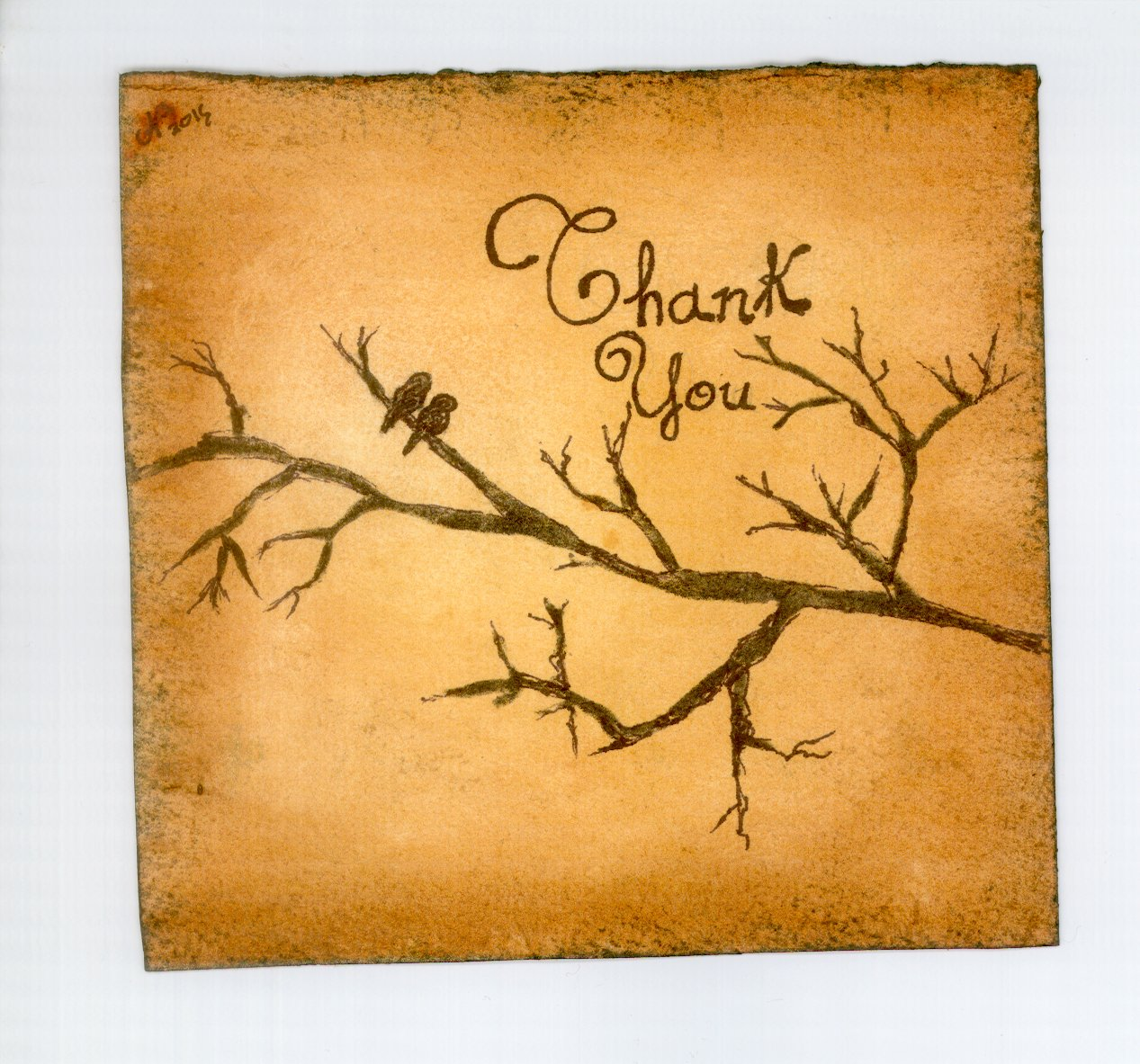 Thank You Hand Crafted Greeting Card (print)